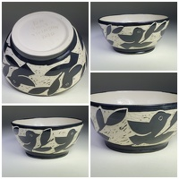 birds and leaves bowl - stoneware