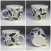 Bees And Blooms Mug - stoneware