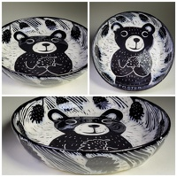 Bear With Pinecone Plate - porcelain