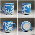 Birds With Branches Blue Mug - porcelain