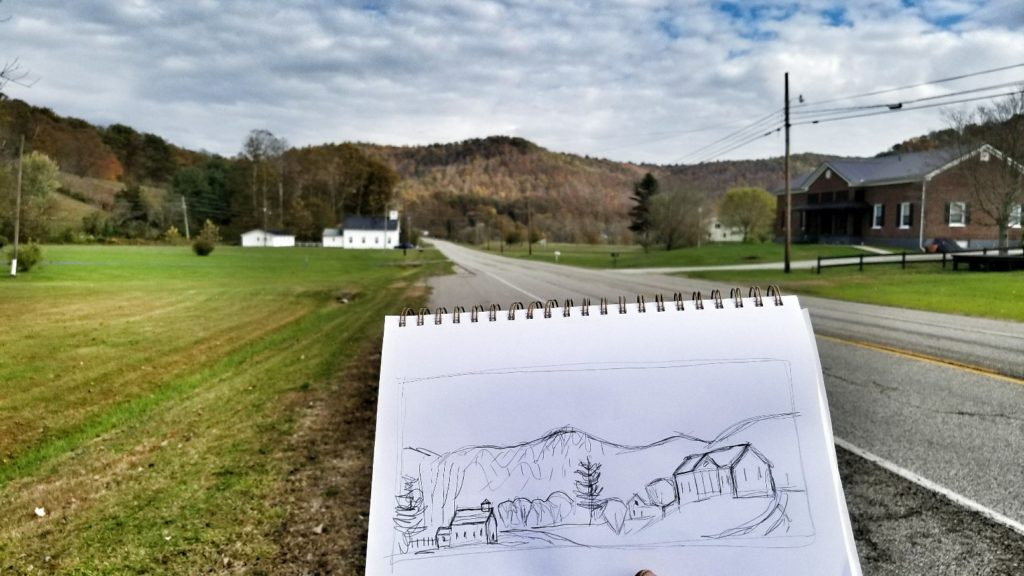 photo of a sketch of the old schoolhouse in vanceburg kentucky
