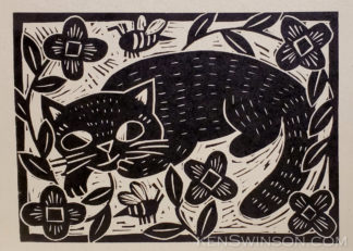 Linocut of cat watching bees in flowers