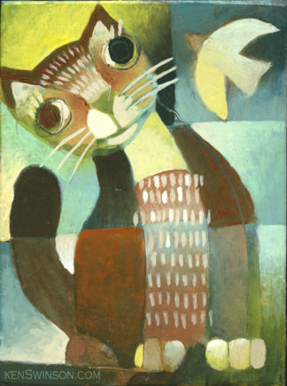 painting of orange cat with bird flying over its head