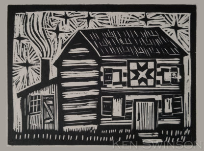 woodcut of a log cabin