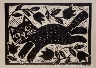 linocut of cat dancing in field of tulips