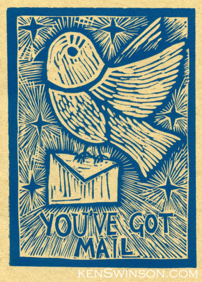 linocut notecard with bird carrying mail