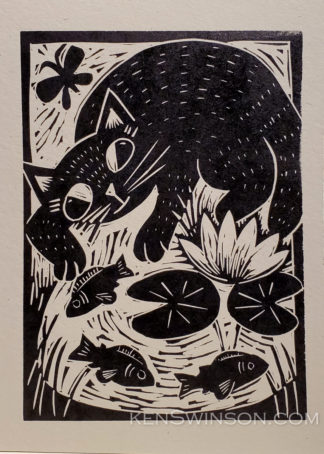 linocut of a cat dipping its paw in a pond filled with fish