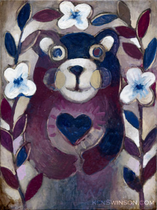 painting of purple bear holding blue heart