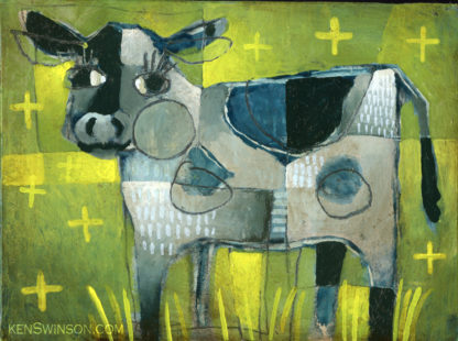 painting of cow in grass