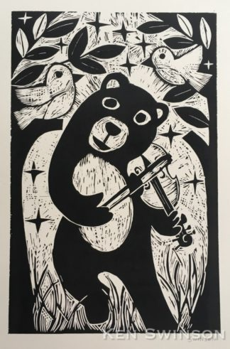 woodcut of a bear playing a fiddle