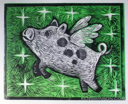 woodcut of flying pig
