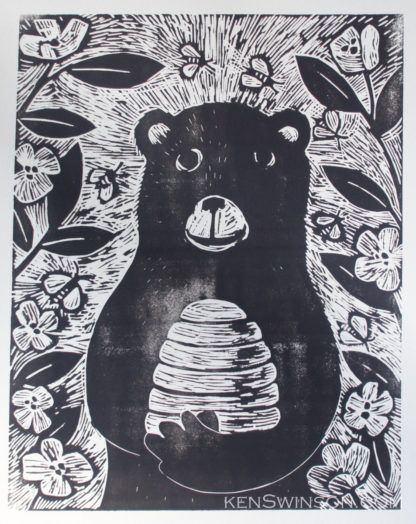 woodcut of bear holding beehive