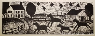 Woodcut of horses frolicing at a horse farm