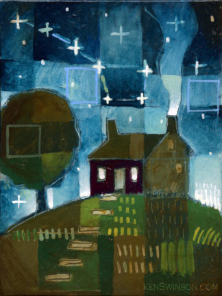 painting of a house on the hill at night with the big dipper in the sky
