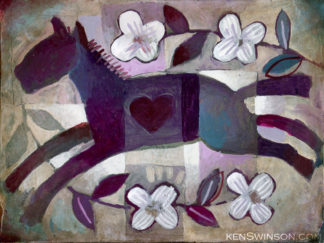 oil painting of horse jumping in flowers