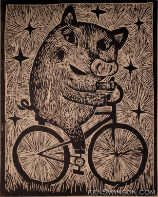 woodcut of pig on bike