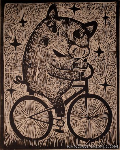 woodcut of pig on bike