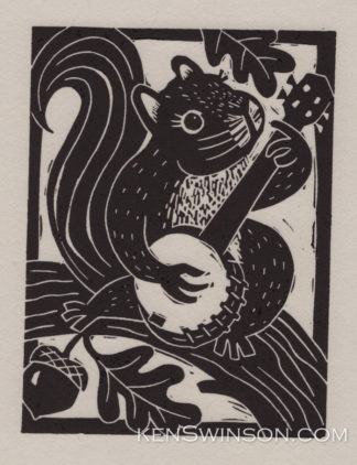 Linocut notecard of a squirrel playing banjo