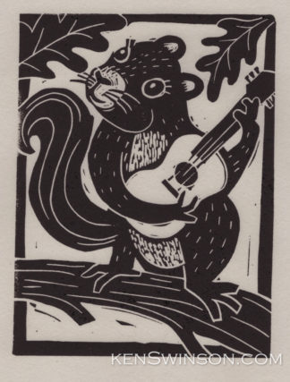 Linocut Notecard of a squirrel playing the guitar