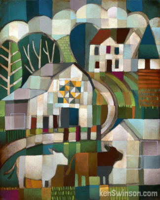 folk art style abstract landscape painting of 2 cows standing in front of a quilt barn and house in the distance