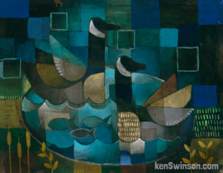 abstract folk art style painting of two geese in a lake