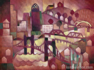 abstract style painting of 4 bridges over the ohio river in Cincinnati Ohio