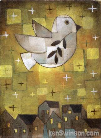 folk art abstract style painting of a dove with olive branch flying over village