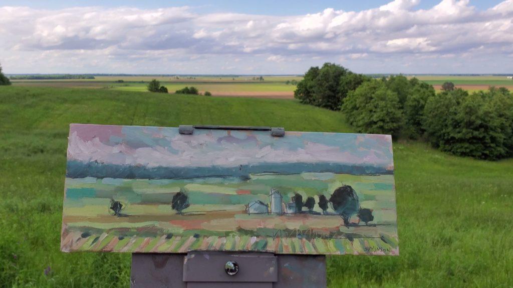 plein air painting of the flat lands near pigot arkansas