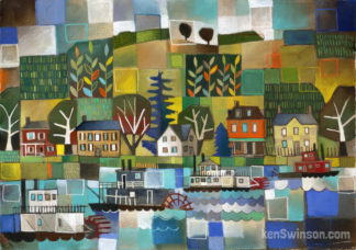 folk art abstract style painting of paddleboats on the river with small kentucky village in the background