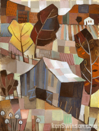brown folk art abstract style painting of a barn with hills and a valley in the background