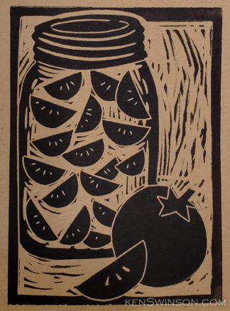 linocut of canned tomatoes
