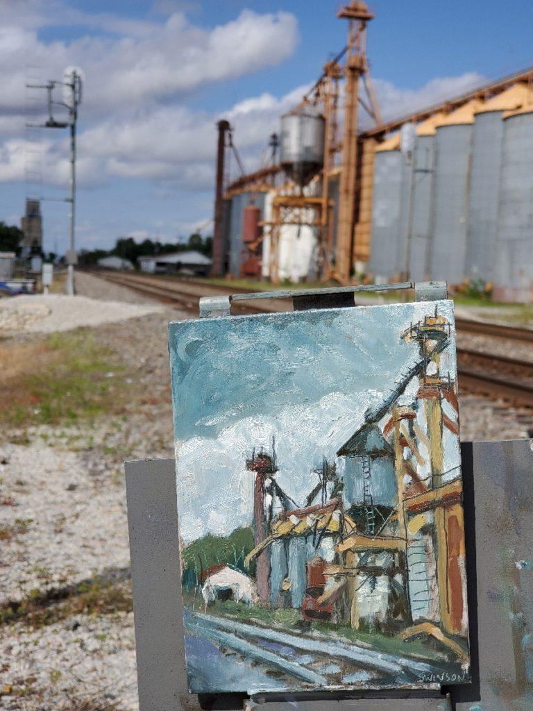 plein air painting of a grain mill in corning arkansas by ken swinson