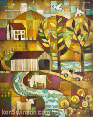 folk art abstract painting of a truck driving through a covered bridge in a country scene
