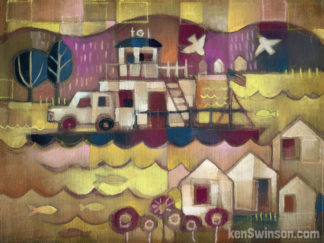 folk art abstract style painting of a ferry boat crossing the ohio river