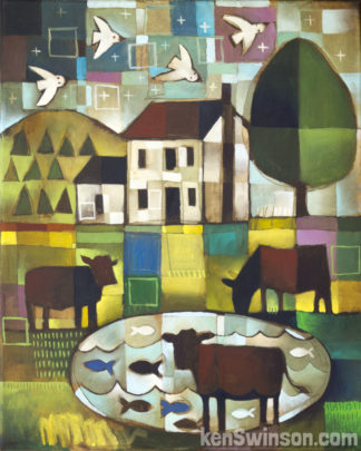 folk art abstract style country painting of 3 cows by a lake with a house in the background