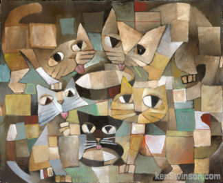 abstract folk art style painting of cats around a bowl of milk