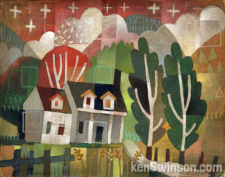 folk art abstract painting of house with mountians and trees