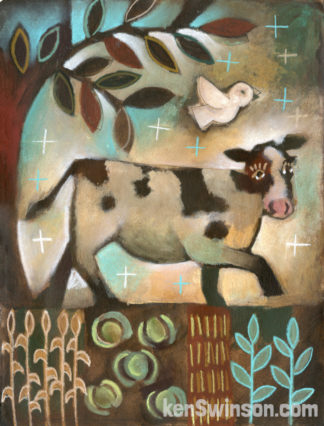 Folk Art Style painting of a cow walking around in a garden