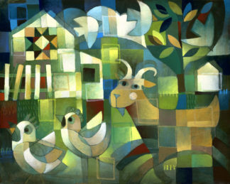 abstract folk art style painting of goat with two chickens