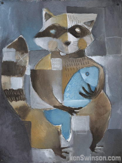 folk art abstract painting of a raccoon holding a fish