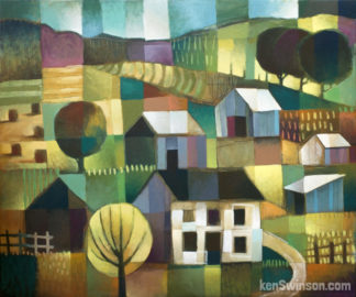 abstract folk art style painting of a rural country scene. a white house with hay bales and barns in the background