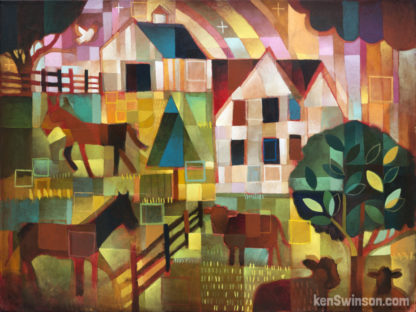 colorful abstract folk art style painting of a house and farm surrounded by horses and cows