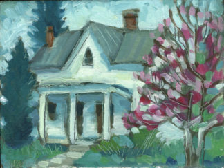 plein air painting of house with flowering tree in Old Washington kentucky by artist ken swinson