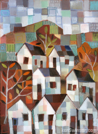 colorful folk art abstract style painting of houses in front of patchwork hills
