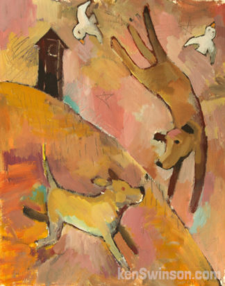 folk art style painting of two dogs playing in front of an out house