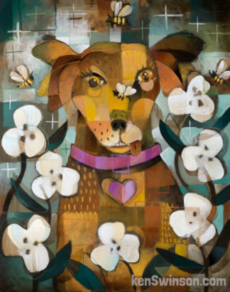 folk art abstract style painting of brown dog surrounded by bees and flowers