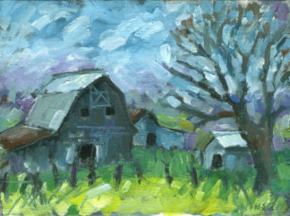 plein air painting of a barn in mason county kentucky-created during a windy day