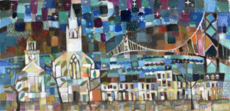 folk art abstract style painting of town by river at night with courthouse church bridge and row of houses