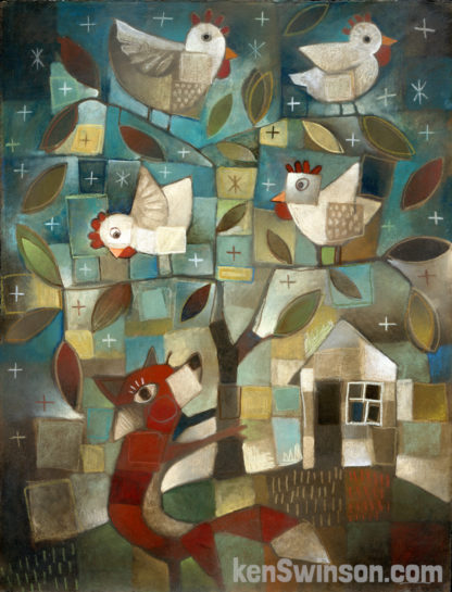 abstract folk art style painting of a fox beneath a tree filled with chickens