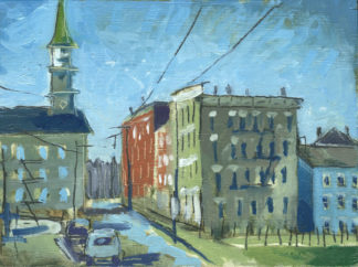 Over The Rhine Sycamore street plein air painting by artist ken swinson